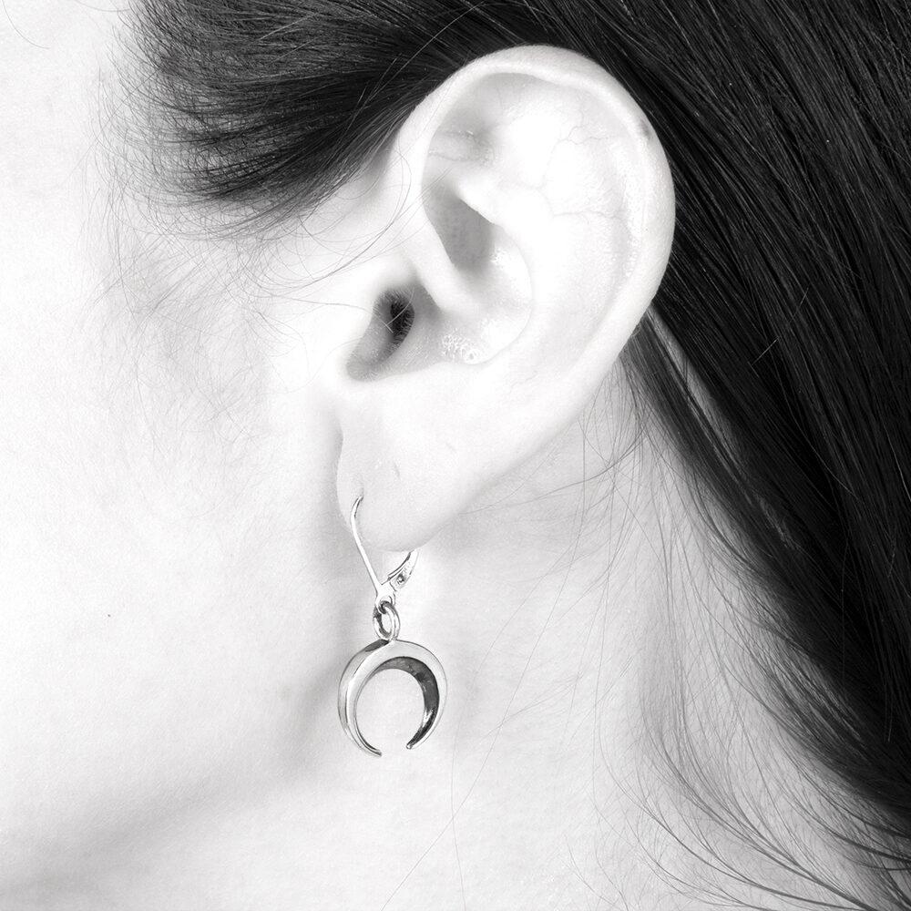Ether11 Sterling Silver Moon Earrings