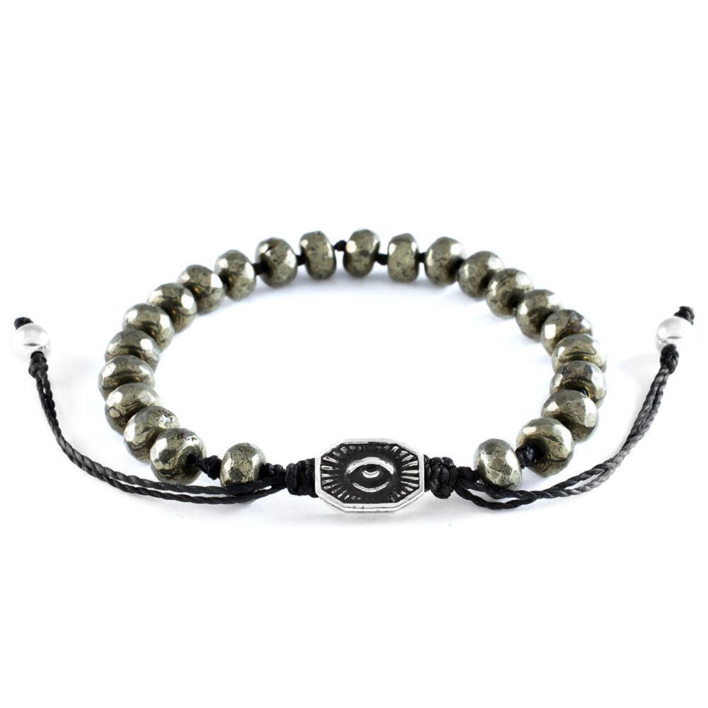 Ether 11 Faceted Pyrite Gemstone Bead Bracelet Macreme Clasp