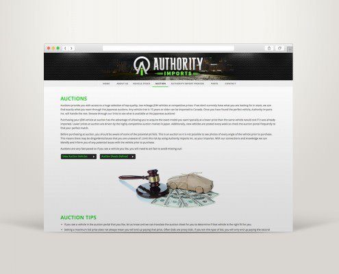 Edmonton Website Design | Authority Imports Website