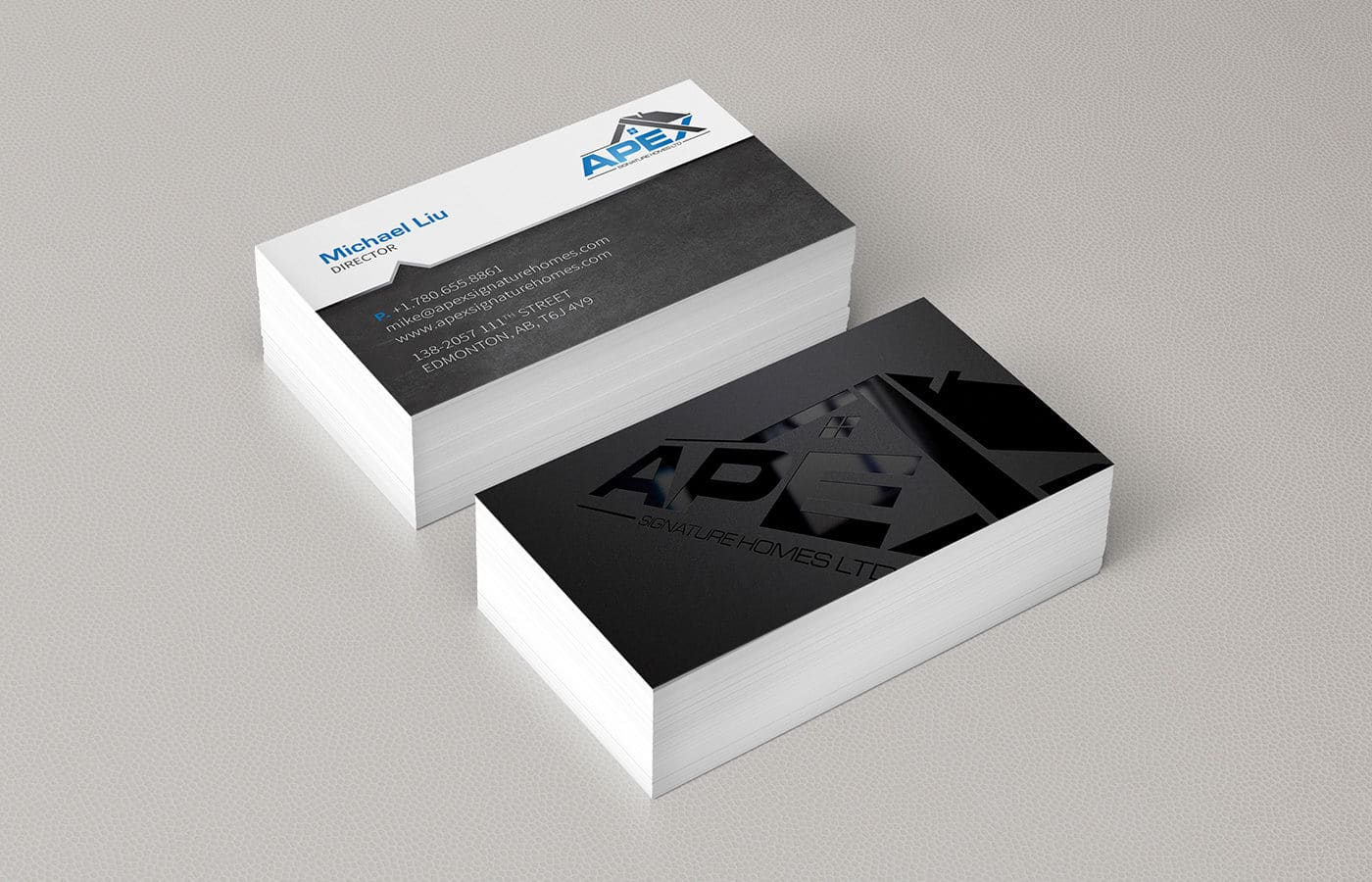 Edmonton Graphic Design | Apex Signature Homes Business Card