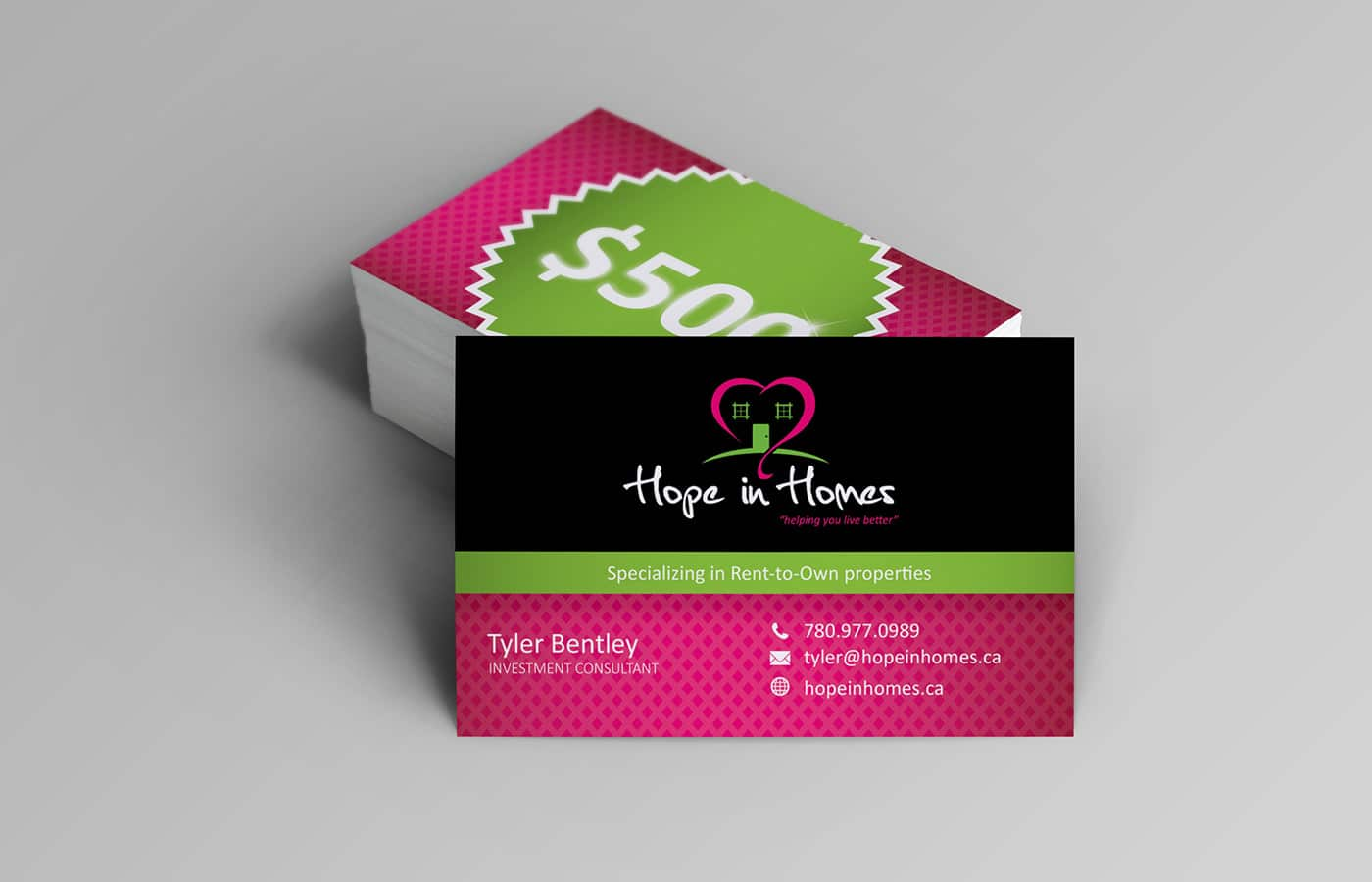 Edmonton Graphic Design   Hope in Homes Business Card