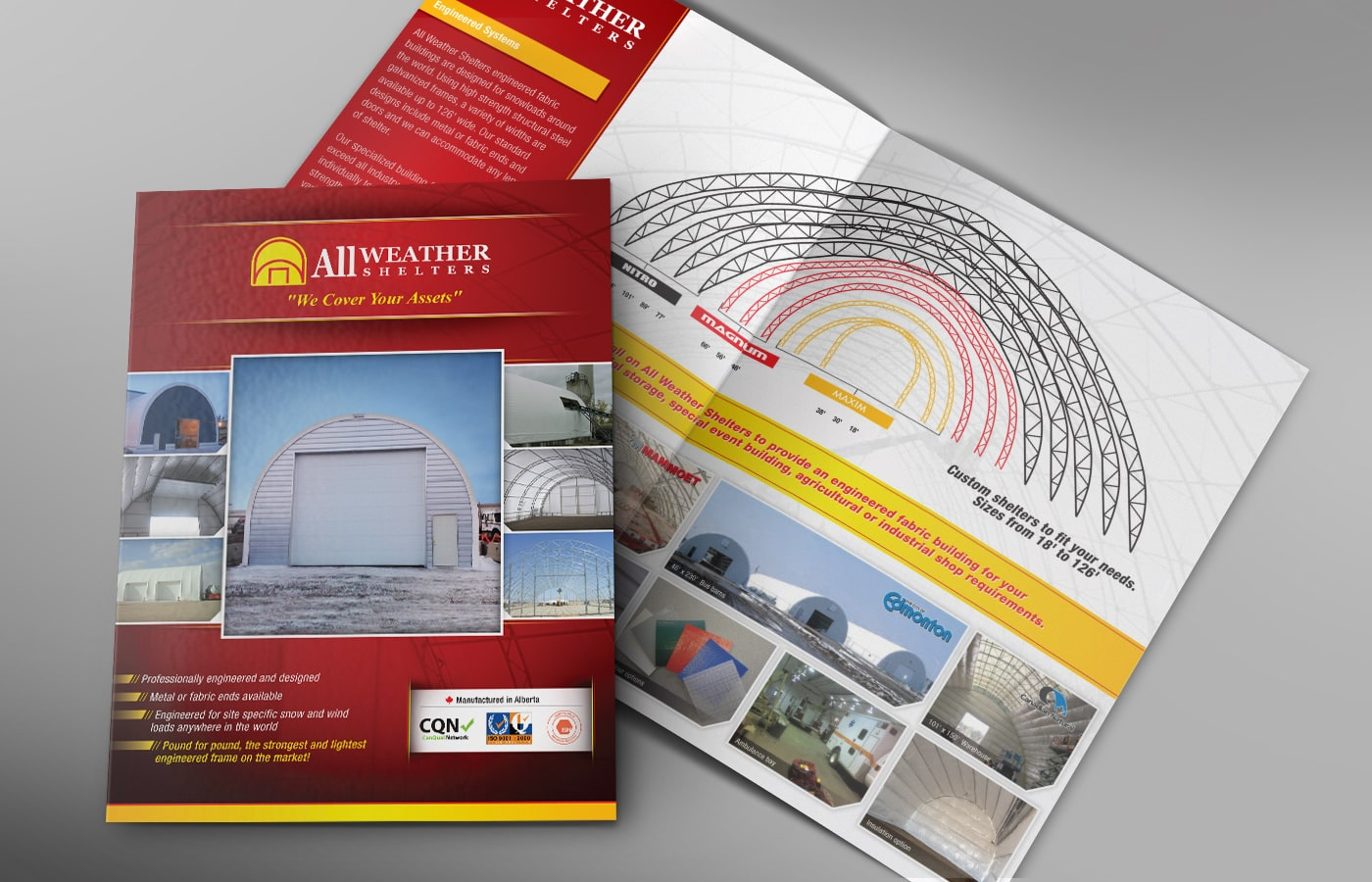 Edmonton Graphic Design | All Weather Shelters Product Brochure