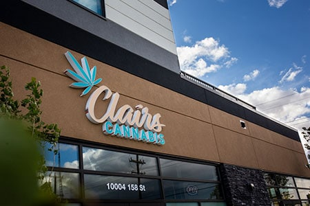 Branded signage for Clairs Cannabis Edmonton