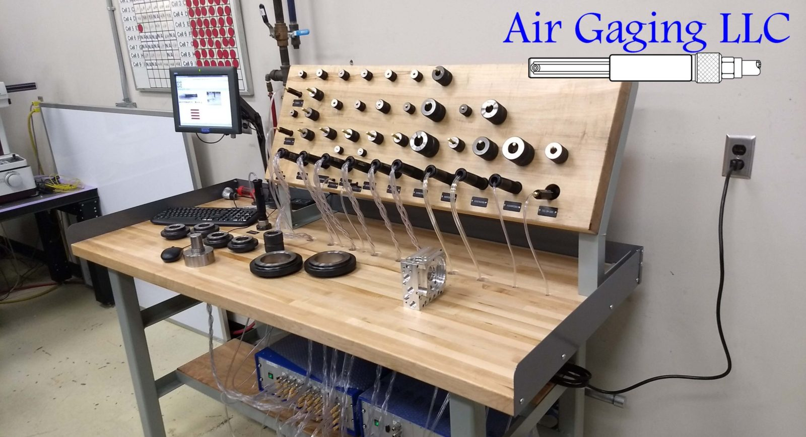 Air Gaging LLC workbench air gaging station utilizing a Stotz MRA measuring computer with 34 measuring circuits