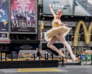 Nice distraction on the way to work - dancer in Times Square