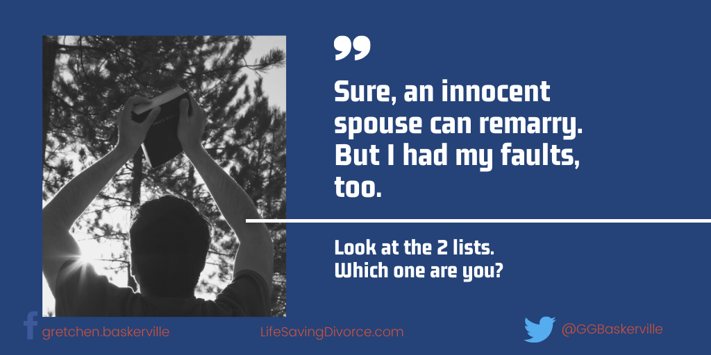 Remarriage after Divorce: How Can I Claim to be the Innocent Spouse? I Had My Faults Too!