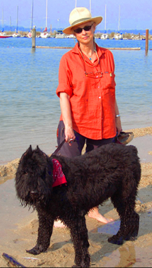 Suzanne Tornquist and her wet dog Beulah