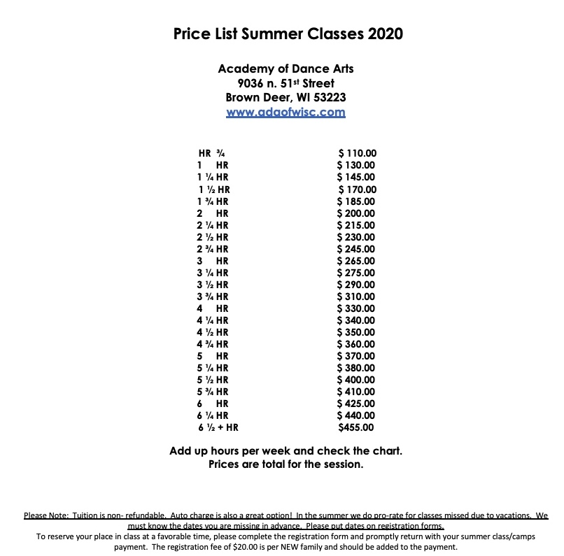 Price list 2020 classes