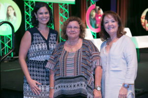 Karen Jackson (C) with representatives from Suncoast Hospice/Empath Health Melissa Moré and Kathy Roble (L to R).