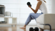 Lifting weights and exercising