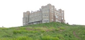 The Camelot Castle Hotel sits above the Atlantic Ocean near Land's End in Cornwall.