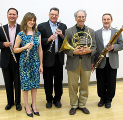 The Arizona Faculty Wind Quintet members are (from left) Brian Luce, Sara Fraker, Jerry Kirkbride, Daniel Katzen, and Will Dietz.