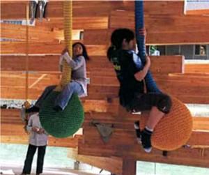 Children play in Takaharu Tezuka's kindergarten.