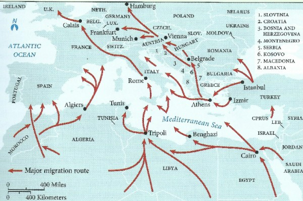 Main migration routes from Africa to Europe