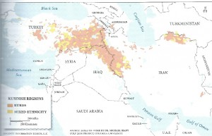 Distribution of ethnic Kurds in the Middle East