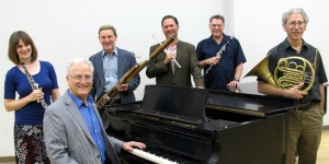 Rex Wood on piano joints UA Faculty Wind members (from left) Sara Fraker,Will Dietz, Brian Luce, Jerry Kirkbride, and Daniel Katzen.