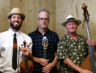 Hot Club of Tucson members Nick Coventry (violin), Matt Mitchell (guitar) and Evan Dain (acoustic bass),
