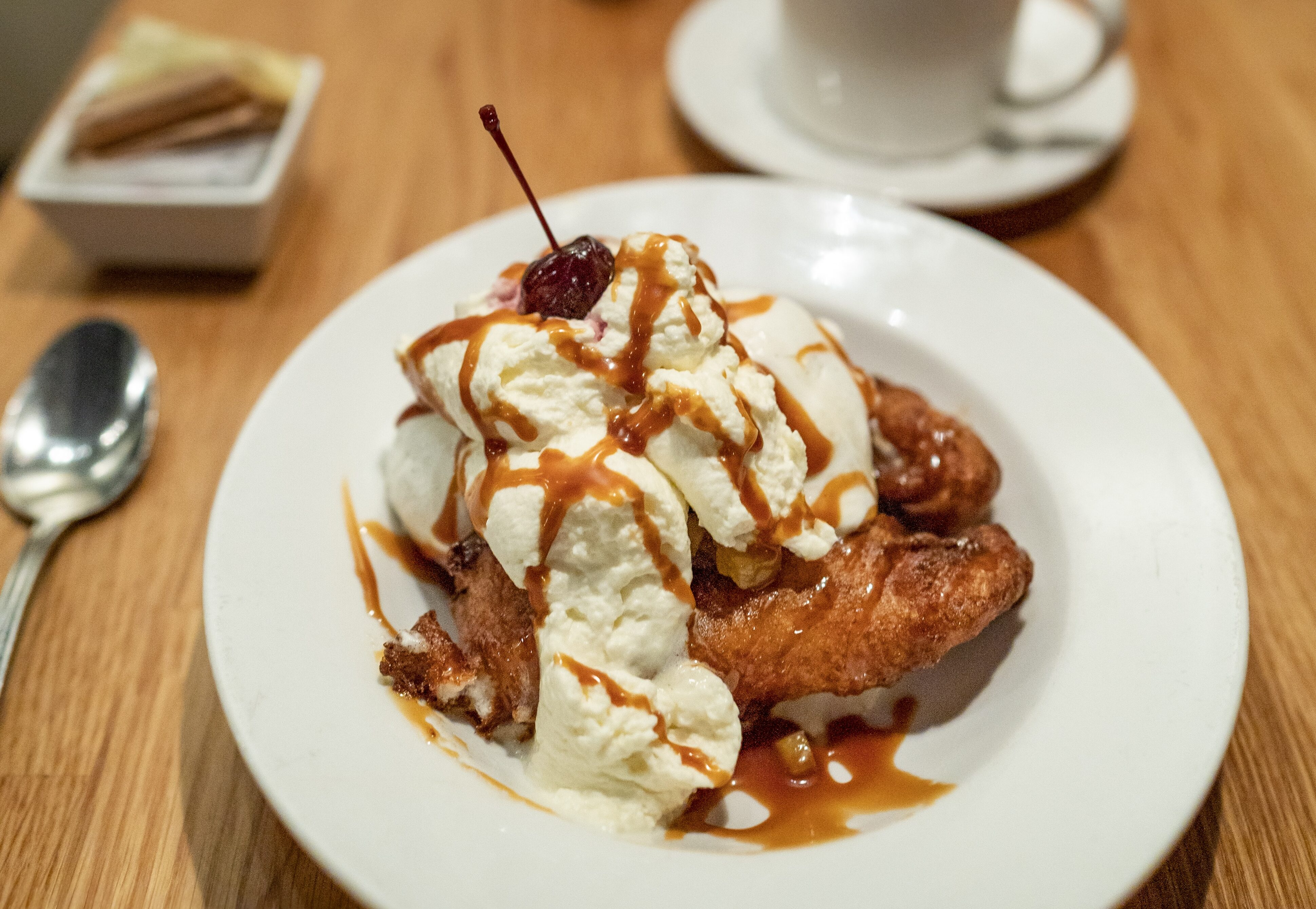 Fried Big Island Candy Apple Banana Split at 12th Ave Grill