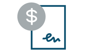 Dollar sing on paper icon depicting accounting service