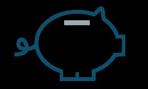 Piggy bank icon depicting money management