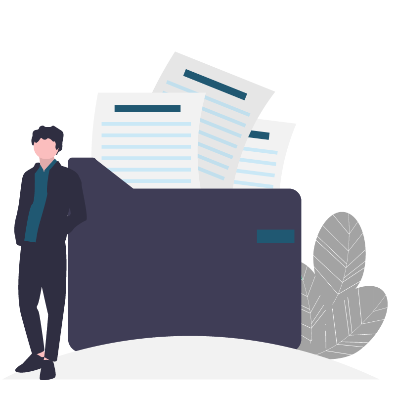 Man standing next to documents