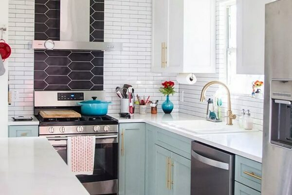 Apartment Therapy: Before and After: This New Kitchen Has a Very Unique Tile Backsplash