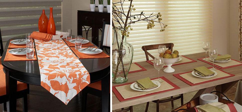Custom bedding duvet covers comfortors luxury decorating ideas orange white placemats Custom Table Runner Lafayette Interior Fashions place mats