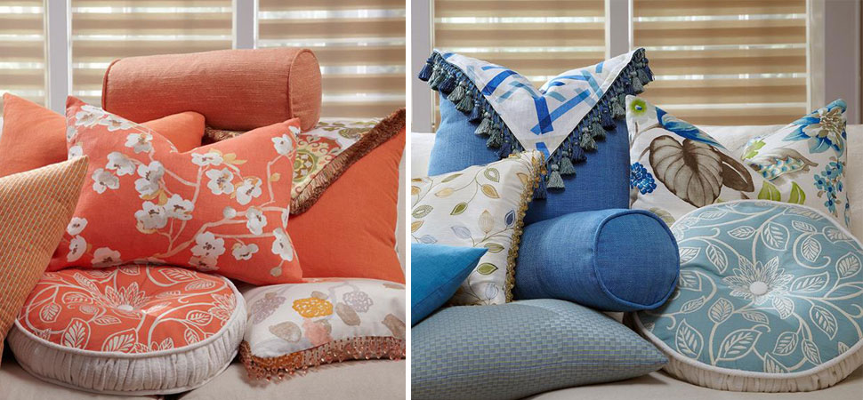 decorative throw pillows bolsters orange white Decorative throw Pillows Lafayette Interior Fashions blue euro floral bolsters