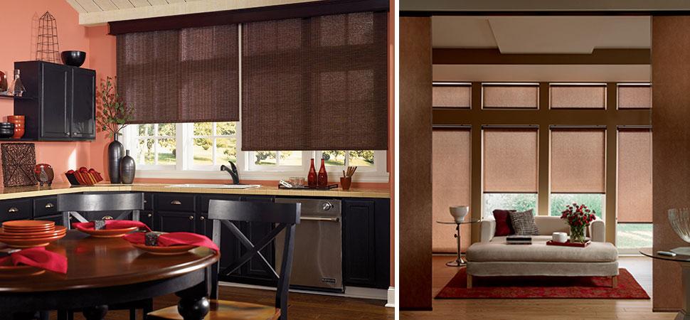 custom roller blinds - blackout roller shades Graber brown woven roller blind kitchen beign