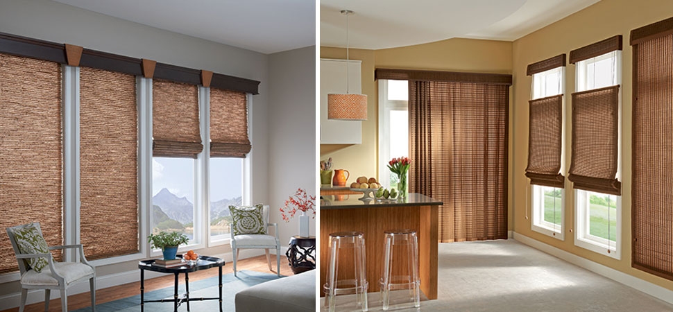custom woven wood shades woven wood blinds Graber valance Woven Woods Tradewinds top down bottom up woven wood blinds shades