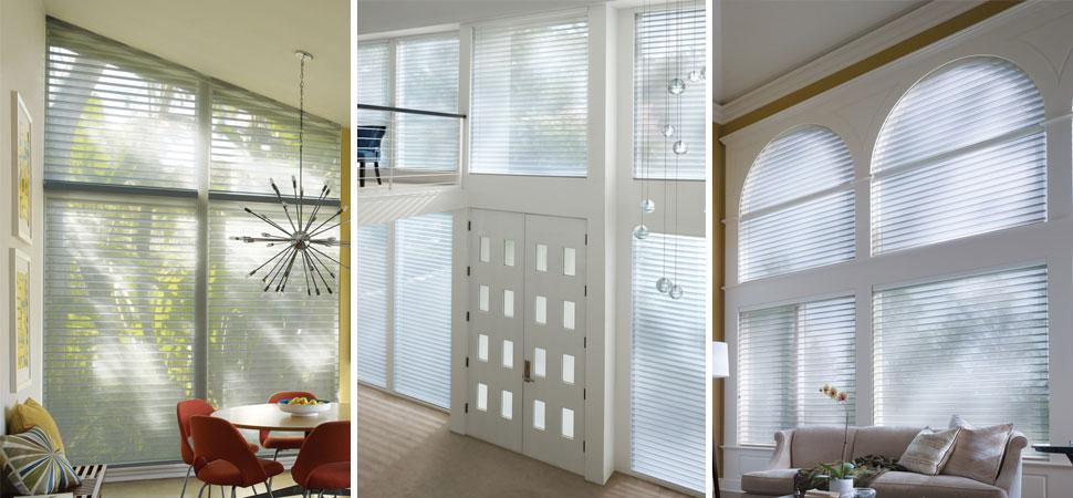 custom window shades - window shadings Hunterdouglas Nantucket, Door, Sidelight shaed white floor to ceiling shades specialty window shapes shades