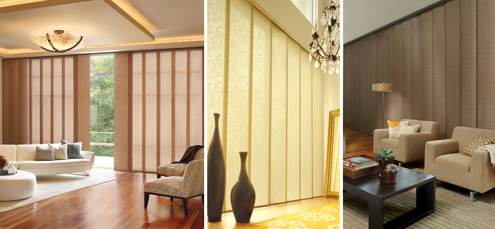 Custom Hunter Douglas vertical blinds Skyline Vertical Blinds yellow living room light filtering custom vertical blinds