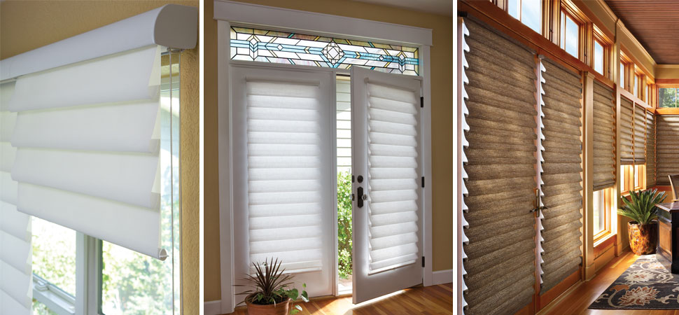 hunter douglas vignette roman shades white Roman Shades valance beige roman shade on french door room darkening