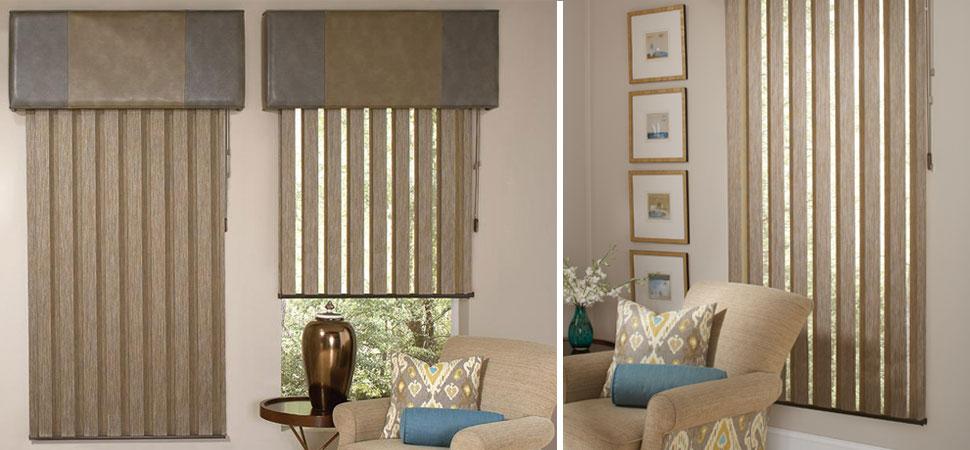 custom vertical blinds Allure Visionaire Vertical Blinds with valance brown room darkening