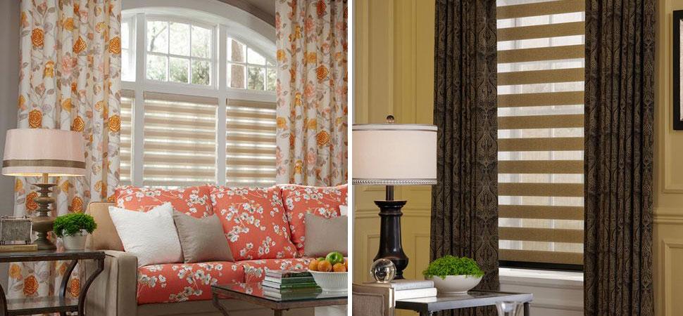custom window shades - window shadings lafayette Interior Fashions Allure Transitional Shading window panels room darkening shades