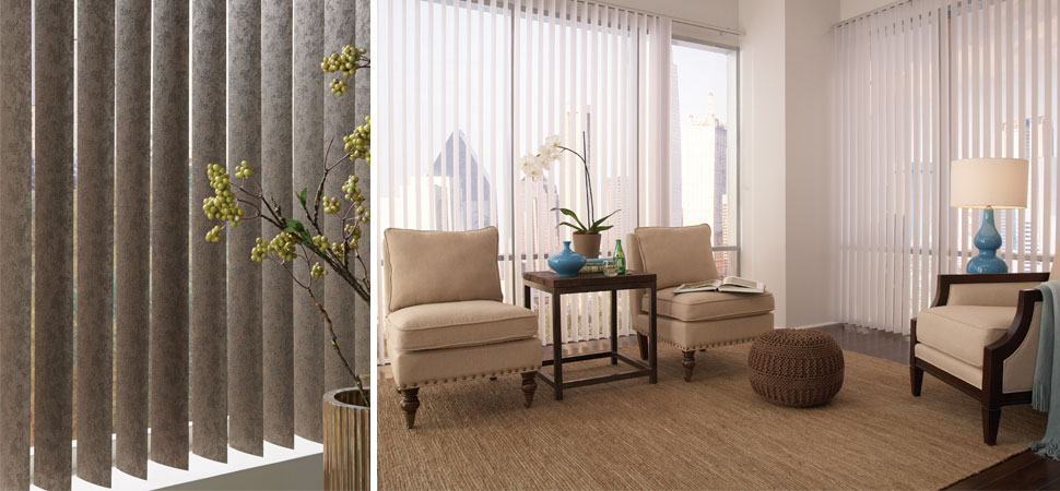 custom vertical blinds Lafayette interior Fashions Discoveries white patterned Vertical Blinds living room