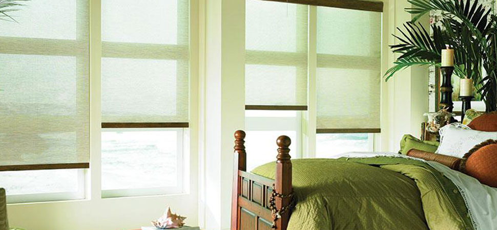 Lafayette Interior Fashions seasonvue green screen shades bedroom roller shades sun shades green solar shades