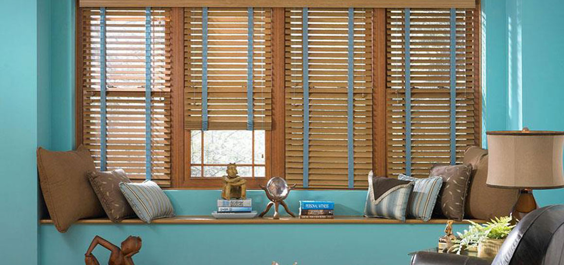 Blue Tape Cloth wood Blinds