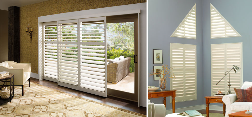 Palm Beach Shutters white Sliding Door shutters triangle shutters