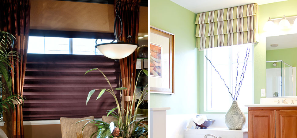 custom roman shade volari Hobble top down bottom up Roman Shade green yellow striped roman shade