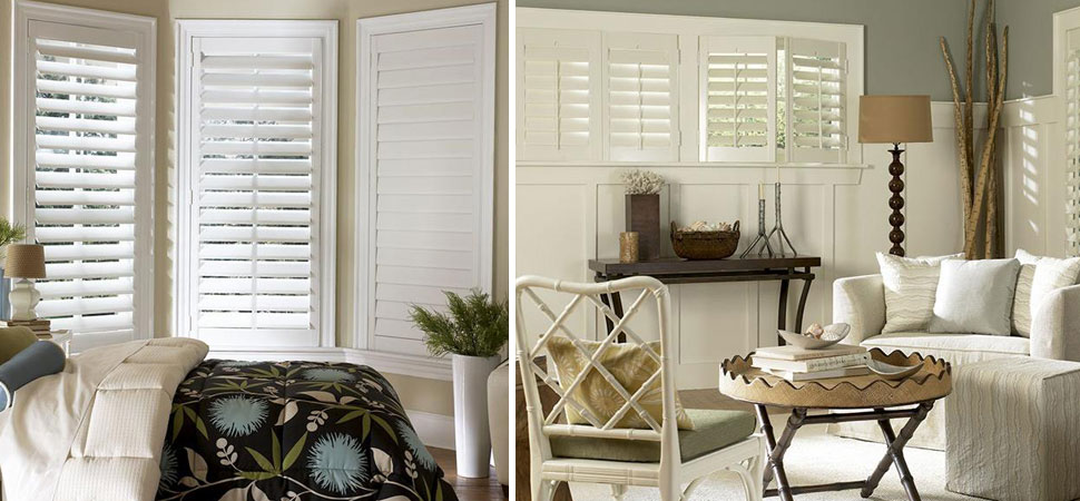 custom shutters - plantation shutters white Wyndham Shutters Lafayette bedroom shutters small windows