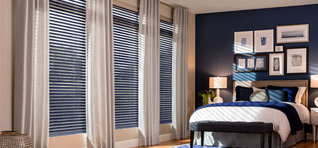 bedroom ideas - fabric blinds with curtain panels fabric shades