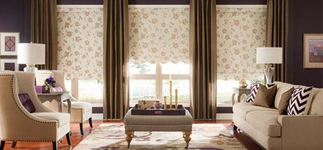 family room ideas, living room ideas, patterned roman shades