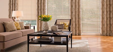 family room ideas, living room ideas, blinds with drapes