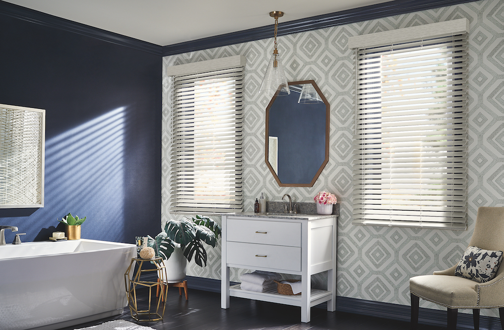 A bathroom designed with Premium Faux Wood Blinds with Cordless Lift/Wand Tilt