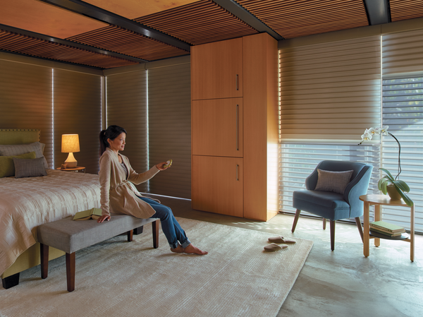 Honeycomb Shades being showcased in a master bedroom