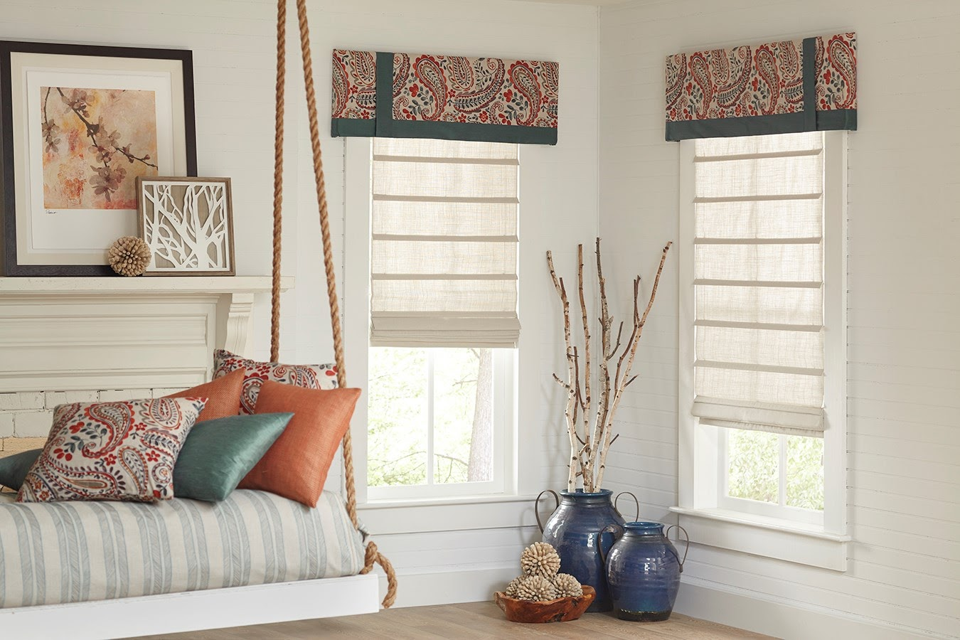Roman Shades featured in a reading nook