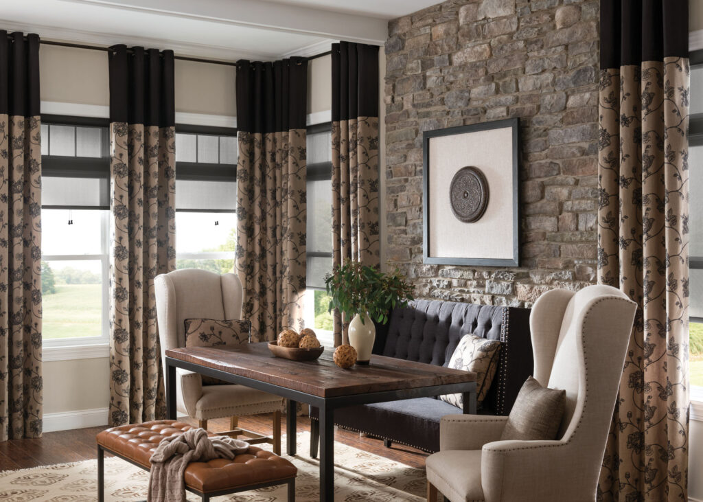Curtains being showcased in an at-home office