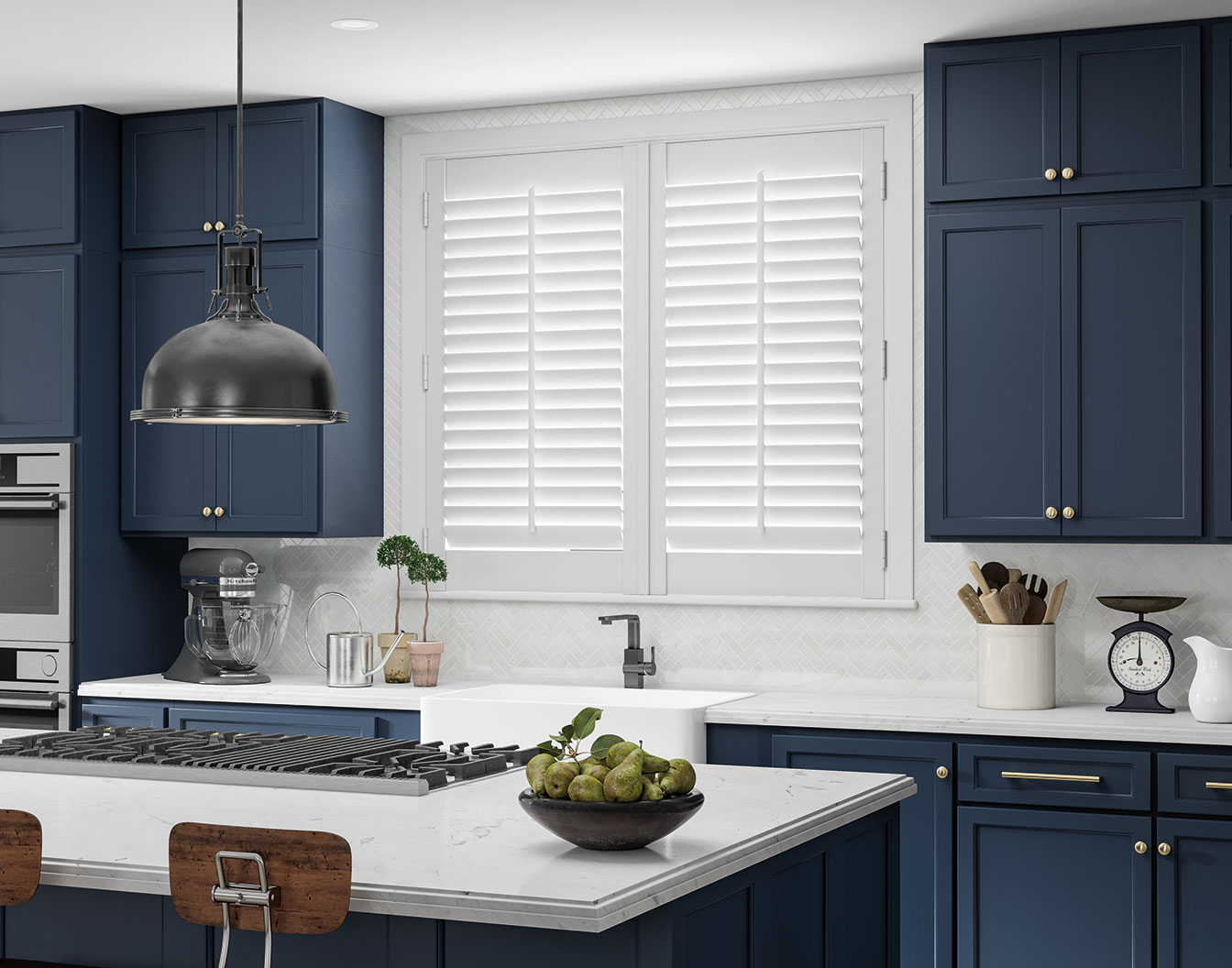 Composite shutters being shown in the kitchen