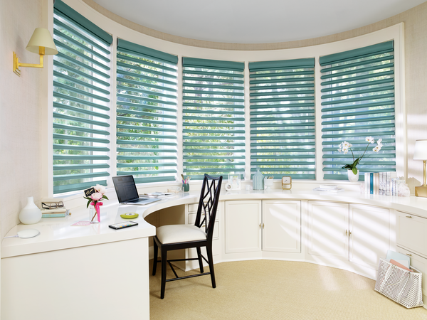 Hunter Douglas Smart Shades in a home office space